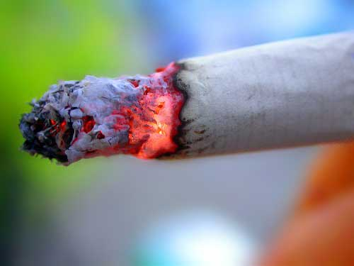 Close up shot of cigarette.