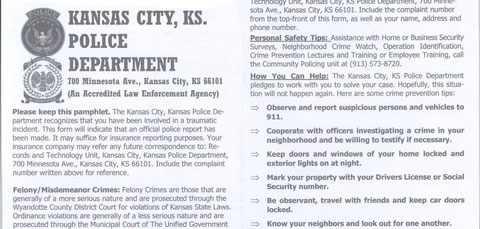 Kansas City, Kansas Police Department Pamphlet